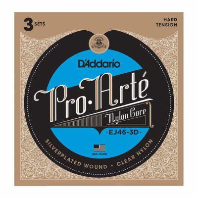 3 סטים מיתרים לגיטרה קלאסית דדריו - Daddario EJ46-3D Pro-Arté Nylon Hard Tension 3Pack