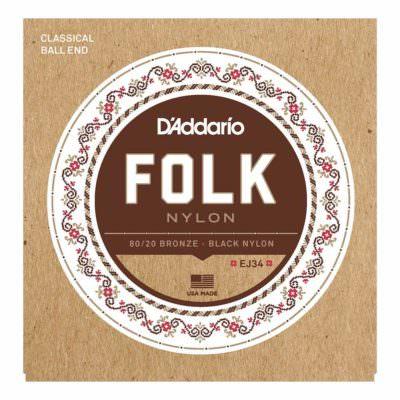 מיתרים לגיטרה קלאסית דדריו - Daddario EJ34 Folk 80/20 Bronze Black Nylon Ball End