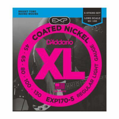 מיתרים לגיטרה בס 5 מיתרים דדריו - 45-130 - Daddario EXP170-5 Coated Nickel Bass Long Scale