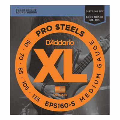 מיתרים לגיטרה בס 5 מיתרים דדריו - 50-135 - Daddario EPS160-5 Prosteels Bass Long Scale 5String