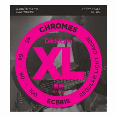 מיתרים לגיטרה בס דדריו - 45-100 - Daddario ECB81S Chrome Bass Short Scale