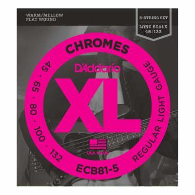 מיתרים לגיטרה בס 5 מיתרים דדריו - 45-132 - Daddario ECB81-5 Chrome Bass Long Scale 5String