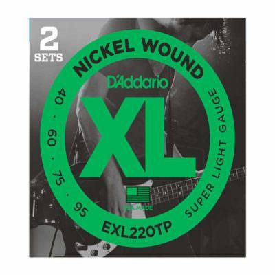 2 סטים מיתרים לגיטרה בס דדריו - 40-95 - Daddario EXL220TP Nickel Wound Bass Long Scale 2Pack