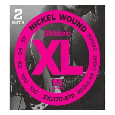 2 סטים מיתרים לגיטרה בס 5 מיתרים דדריו - 45-130 - Daddario EXL1705TP Nickel Wound Bass Long Scale 5String 2Pack