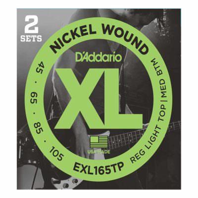 2 סטים מיתרים לגיטרה בס דדריו - 50-105 - Daddario EXL160TP Nickel Wound Bass Long Scale 2Pack