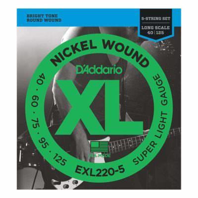 מיתרים לגיטרה בס 5 מיתרים דדריו - 45-105 - Daddario EXL220-5 Nickel Wound Bass Long Scale 5String