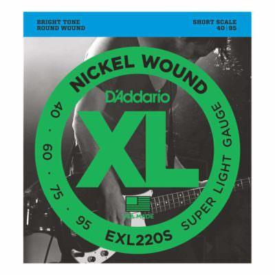 מיתרים לגיטרה בס דדריו - 40-95 - Daddario EXL220S Nickel Wound Bass Short Scale