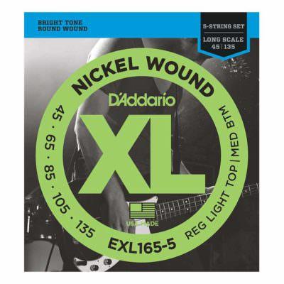 מיתרים לגיטרה בס 5 מיתרים דדריו - 45-105 - Daddario EXL165-5 Nickel Wound Bass Long Scale 5String
