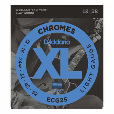 מיתרים לגיטרה חשמלית דדריו - 12-52 - Daddario ECG25 Chrome Flat Wound