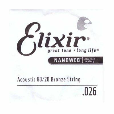 מיתר בודד לגיטרה אקוסטית אליקסיר - Elixir Nanoweb Single - 026