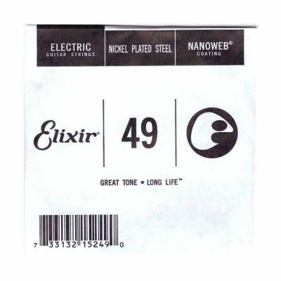 מיתר בודד לגיטרה חשמלית אליקסיר - Elixir Plain Steel Single - 049