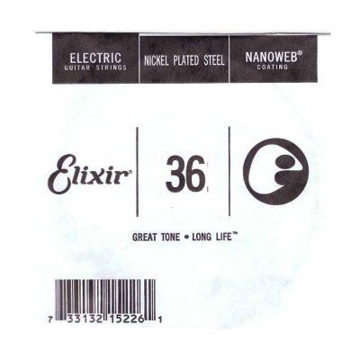מיתר בודד לגיטרה חשמלית אליקסיר - Elixir Plain Steel Single - 036