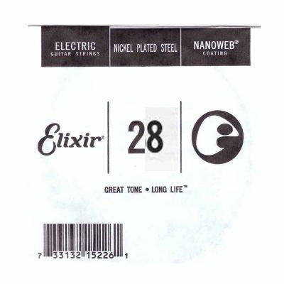 מיתר בודד לגיטרה חשמלית אליקסיר - Elixir Plain Steel Single - 028