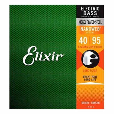 מיתרים לגיטרה בס אליקסיר - 40-95 - Elixir 14002 NANOWEB Nickel Plated Steel