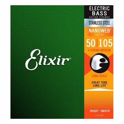 מיתרים לגיטרה בס אליקסיר - 50-105 - Elixir 14702 NANOWEB Stainless Steel